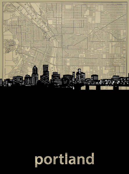 Portland Digital Art - Portland Skyline Map by Bekim Art