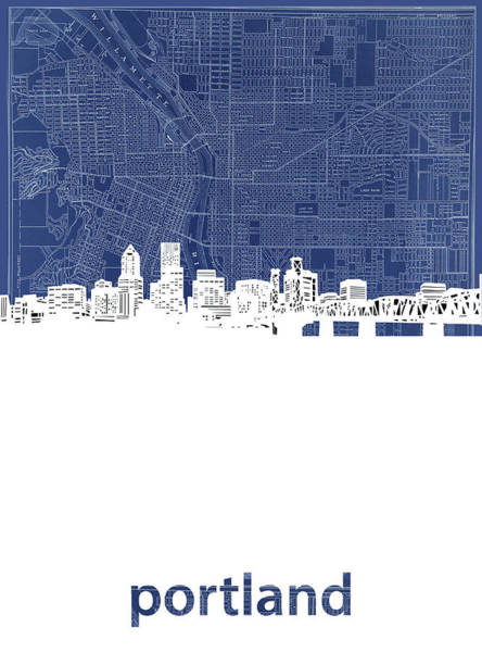 Portland Digital Art - Portland Skyline Map Blue by Bekim Art