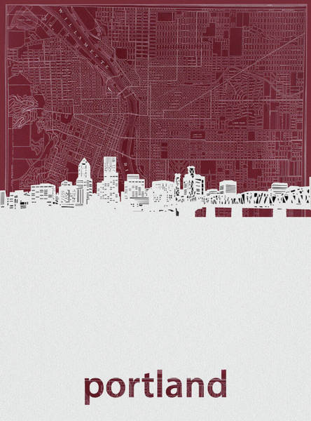 Portland Digital Art - Portland Skyline Map Red by Bekim Art