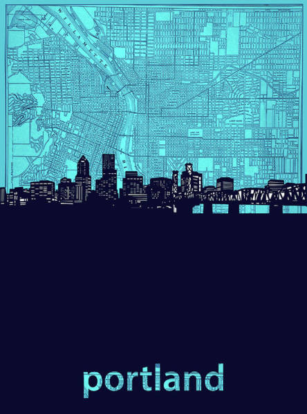 Portland Digital Art - Portland Skyline Map Turquoise by Bekim Art