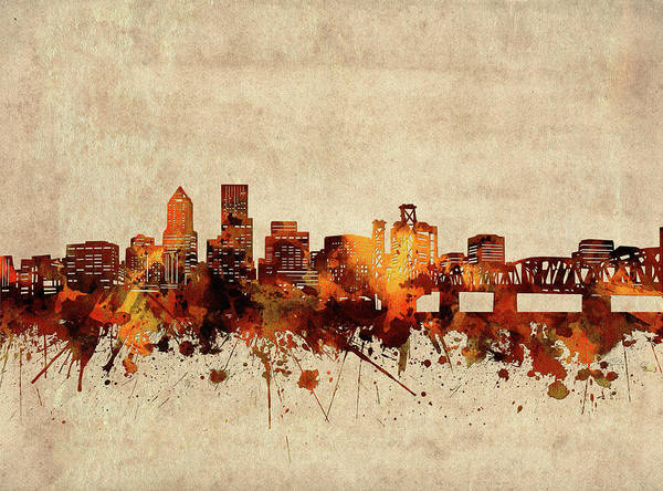 Wall Art - Digital Art - Portland Skyline Sepia by Bekim M