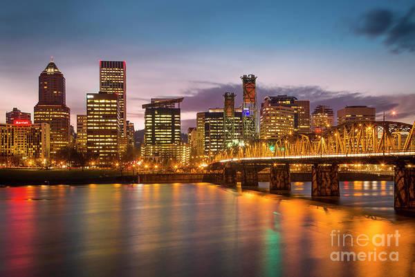 Photograph - Portland Skyline Twilight by Brian Jannsen