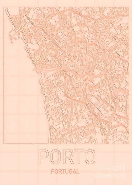Digital Art - Porto Blueprint City Map by Helge