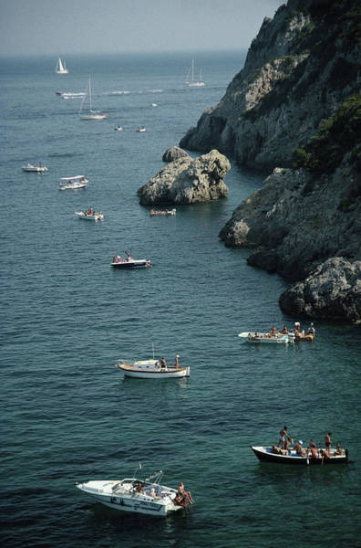 Coastline Photograph - Porto Ercole Boats by Slim Aarons