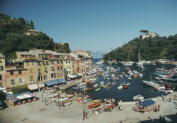 Photograph - Portofino Harbour by Slim Aarons