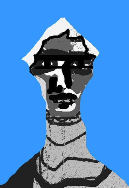 Digital Art - Portrait And Blue by Artist Dot