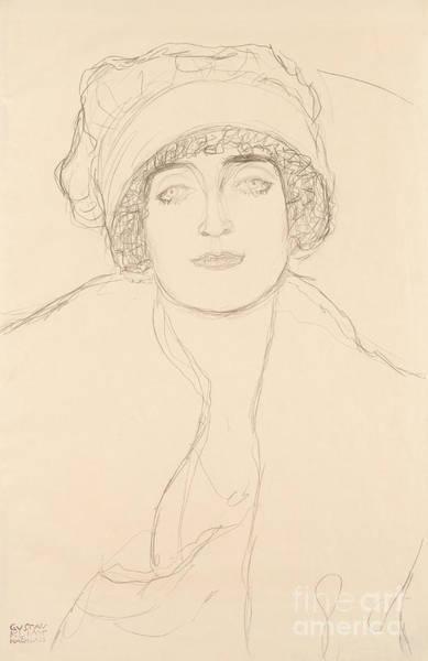 Wall Art - Drawing - Portrait In A Hat By Klimt by Gustav Klimt