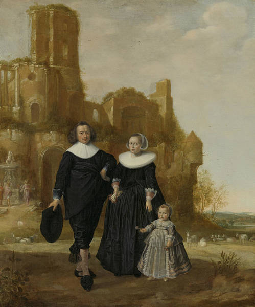 Wall Art - Painting - Portrait Of A Couple With A Child In A Landscape by Herman Doncker