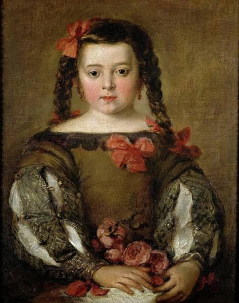 Plaits Painting - 'portrait Of A Girl', Ca. 1660, Spanish School, Canvas, 58 Cm X 46 Cm, P01227. by Jose Antolinez -1635-1675-