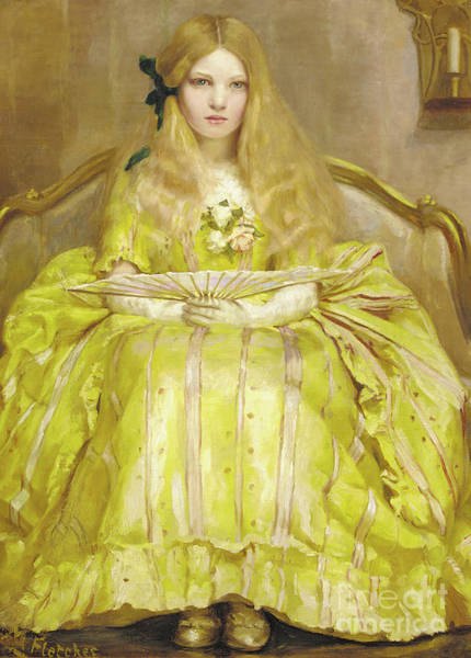 Wall Art - Painting - Portrait Of A Girl In A Yellow Dress, Holding A Fan, In An Interior, 1903 by Margaret Fletcher