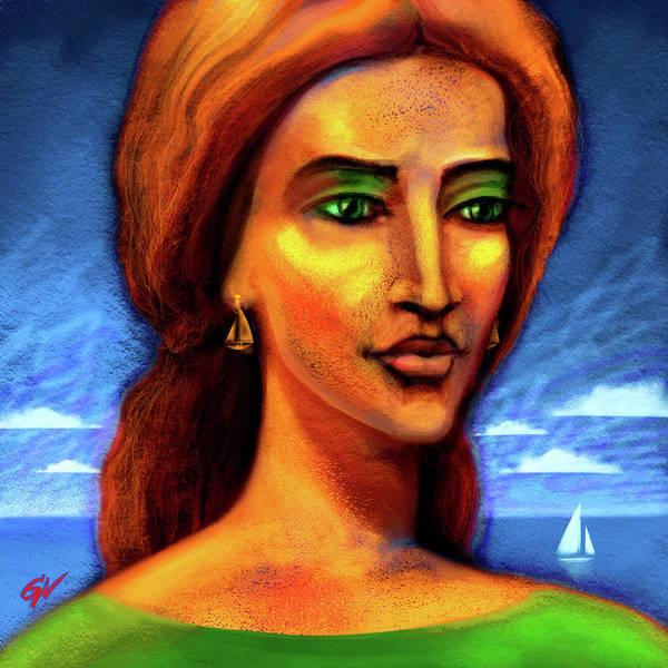Wall Art - Digital Art - Portrait Of A Girl On The Background Of The Sea by Vitaliy Gladkiy