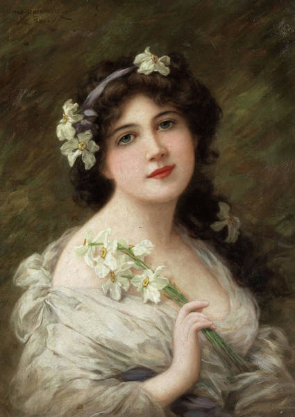Wall Art - Painting - Portrait Of A Lady With Daffodil by Emile Eisman-Semenowsky