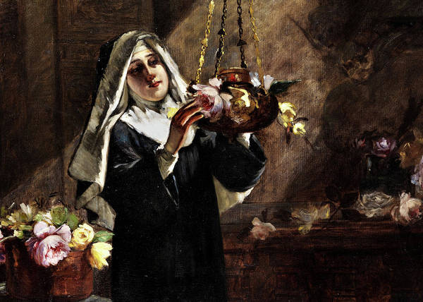 Wall Art - Painting - Portrait Of A Nun With Flowers by Virgilio Ripari
