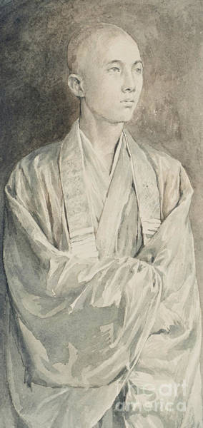 Buddhist Temple Wall Art - Drawing - Portrait Of A Priest At Temple Of Lyemitsu, Nikko, 1888  by John La Farge or Lafarge