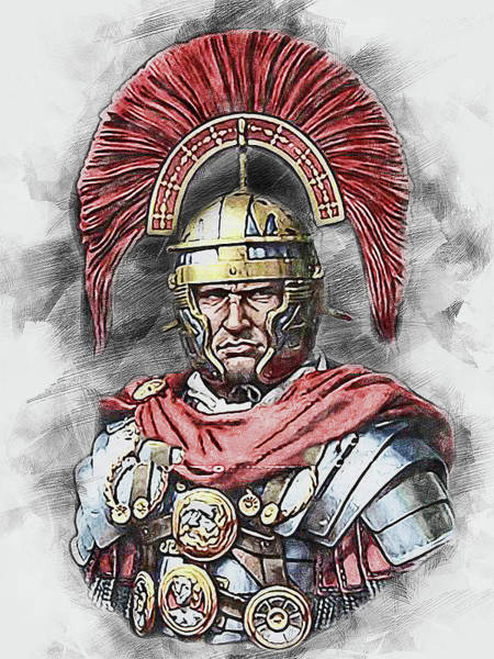 Painting - Portrait Of A Roman Legionary - 48 by Andrea Mazzocchetti