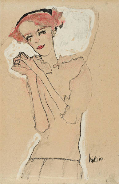 Drawing - Portrait Of A Woman 1 by Egon Schiele