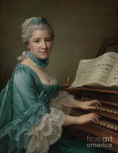 Piano Player Painting - Portrait Of A Woman, Said To Be Madame Charles Simon Favart , 1757 by Francois-Hubert  Drouais