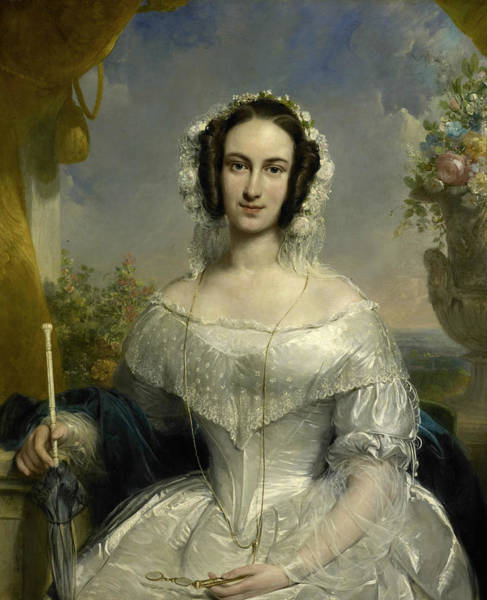 Painting - Portrait Of Agatha Petronella Hartsen, Wife Of Notary Jan Van Der Hoop by Jan Willem Pieneman
