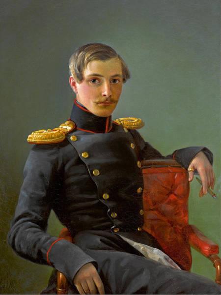 Painting - Portrait Of Alexander Nikolaevich Karamzin by Pimen Nikitich Orlov