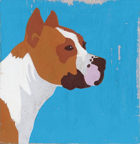Terrier Digital Art - Portrait Of American Pit Bull by Andy Bridge