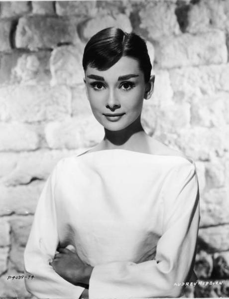 Brick Wall Photograph - Portrait Of Audrey Hepburn by Hulton Archive