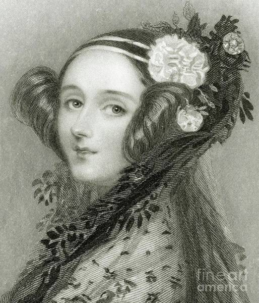 Wall Art - Drawing - Portrait Of Augusta Ada King, Countess Of Lovelace by Alfred-edward Chalon