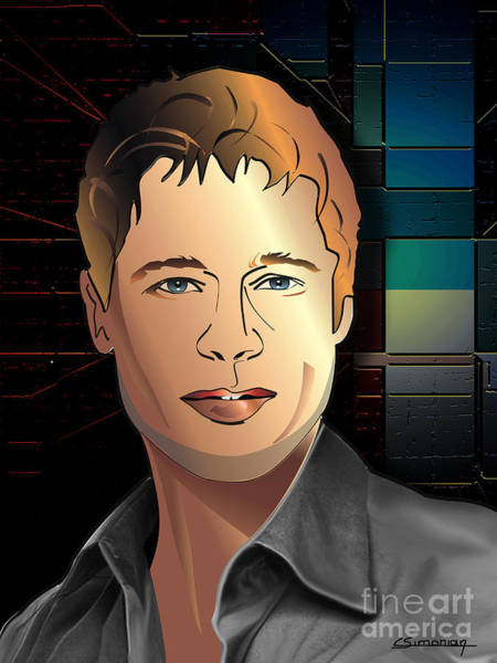 Brad Pitt Digital Art - Portrait Of Bad Pitt by Christian Simonian