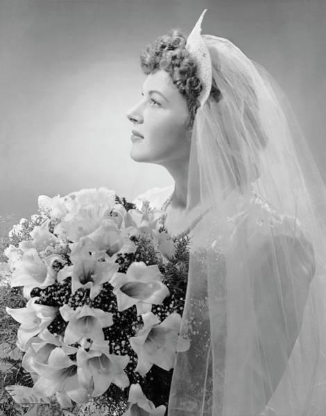 Wedding Bouquet Photograph - Portrait Of Bride by George Marks