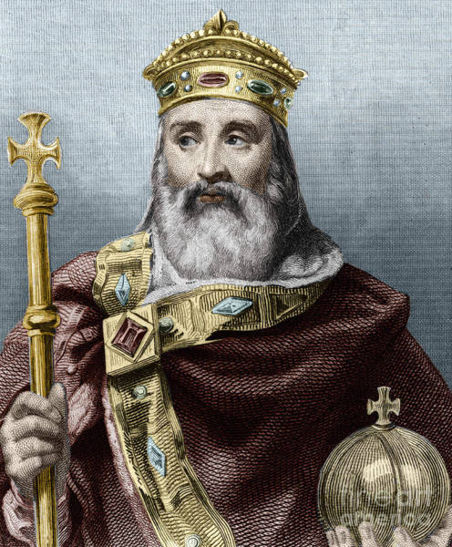 Wall Art - Drawing - Portrait Of Charlemagne, King Of France by French School