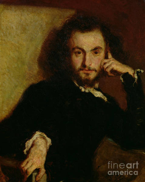 Wall Art - Painting - Portrait Of Charles Baudelaire By Deroy by Emile Deroy