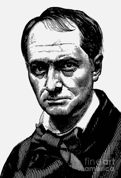 Wall Art - Drawing - Portrait Of Charles Baudelaire  Engraving, 19th Century by French School