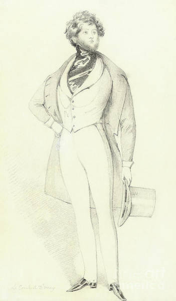 Full Length Drawing - Portrait Of Count D Orsay, Full Length by Daniel Maclise