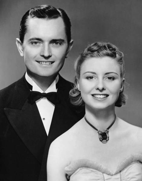 Wall Art - Photograph - Portrait Of Couple In Formal Wear by George Marks