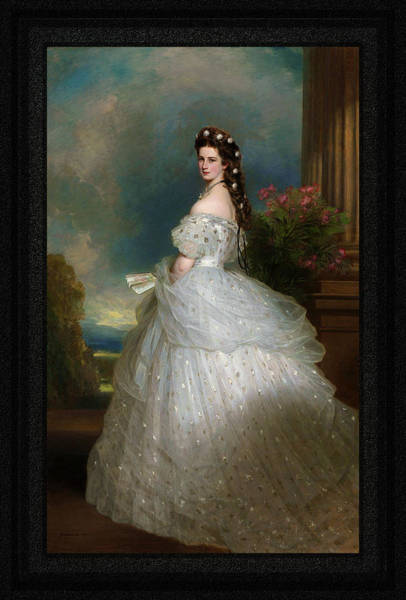 Painting - Portrait Of Empress Elisabeth Of Austria By Franz Xaver Winterhalter Full Po by Xzendor7