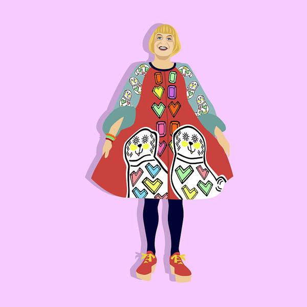 Outfit Digital Art - Portrait Of Grayson Perry by Claire Huntley