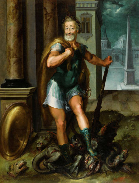 Wall Art - Painting - Portrait Of Henry Iv As Hercules Slaying The Lernaean Hydra by Toussaint Dubreuil