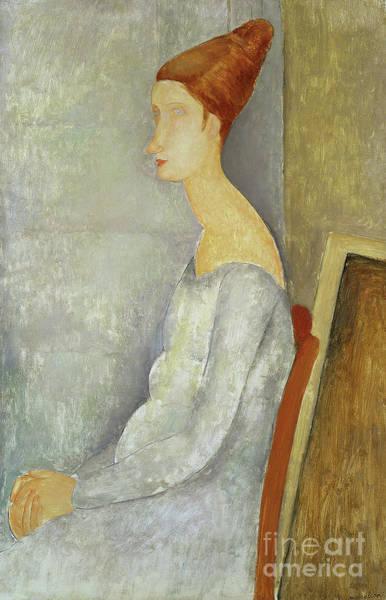 Wall Art - Painting - Portrait Of Jeanne Hebuterne, 1918 by Amedeo Modigliani