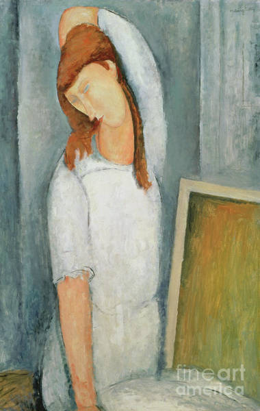 Wall Art - Painting - Portrait Of Jeanne Hebuterne With Her Left Arm Behind Her Head by Amedeo Modigliani