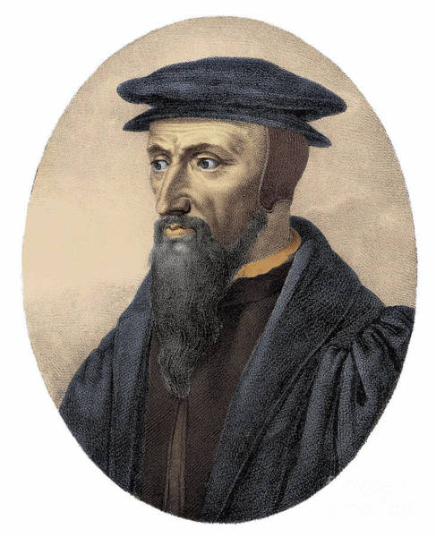 Wall Art - Painting - Portrait Of John Calvin, Engraving by European School