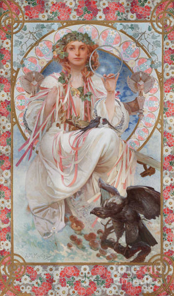 Wall Art - Painting - Portrait Of Josephine Crane Bradley As Slavia  by Alphonse Marie Mucha