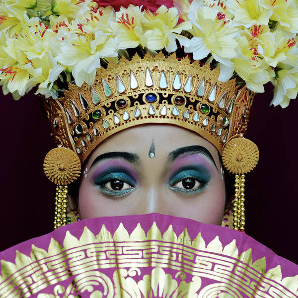 Traditional Clothing Photograph - Portrait Of Legong Dancer by Martin Puddy