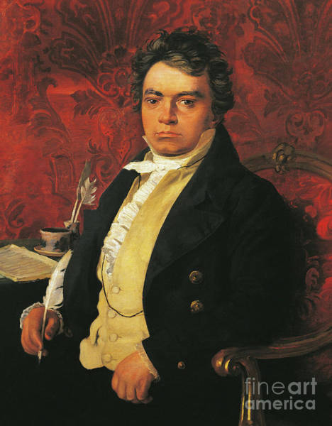 Wall Art - Painting - Portrait Of Ludwig Van Beethoven by German School