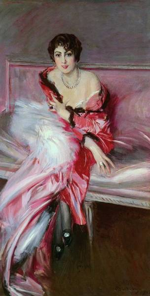 Wall Art - Painting - Portrait Of Madame Juillard In Red, 1912 by Giovanni Boldini