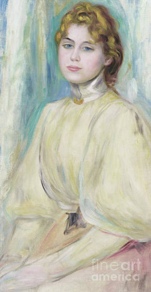 Wall Art - Painting - Portrait Of Mademoiselle Yvonne Lerolle by Pierre Auguste Renoir