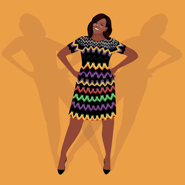 Outfit Digital Art - Portrait Of Michelle Obama by Claire Huntley