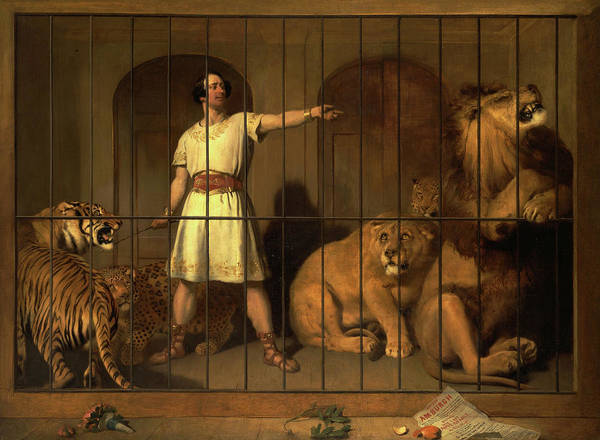 Wall Art - Painting - Portrait Of Mr. Van Amburgh, As He Appeared With His Animals At The London Theatres, 1847 by Sir Edwin Landseer