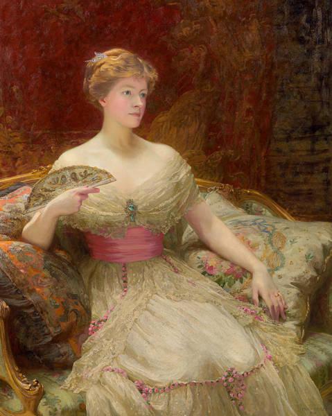 Wall Art - Painting - Portrait Of Mrs Austin Mackenzie by Sir Frank Dicksee