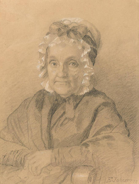 Wall Art - Drawing - Portrait Of Mrs. Jeremiah Chandler by Eastman Johnson