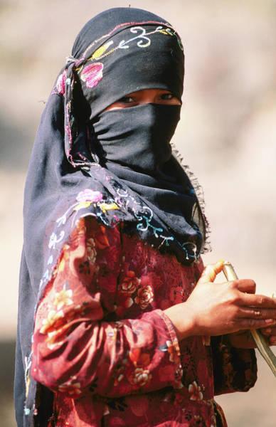 Hiding Photograph - Portrait Of Muslim Woman In Headscarf by Frances Linzee Gordon