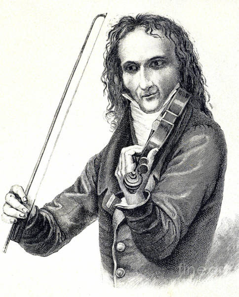 Wall Art - Drawing - Portrait Of Niccol Paganini by Unknown